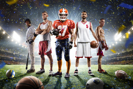 Photo for Multi sports proud players collage on grand arena - Royalty Free Image