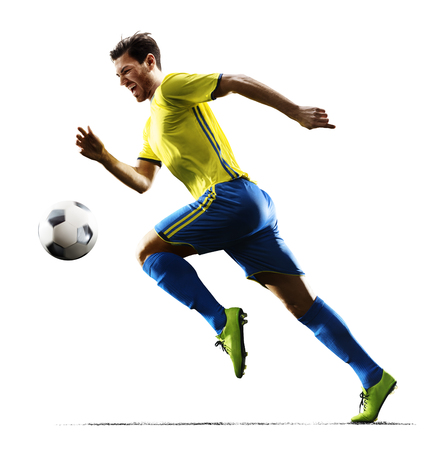 Photo pour Professional football soccer player in action isolated white background - image libre de droit