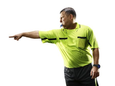 Photo pour Professional soccer referee isolated on white background - image libre de droit
