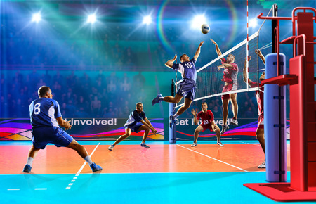 Photo pour Professional volleyball players in action on the colour grand court - image libre de droit