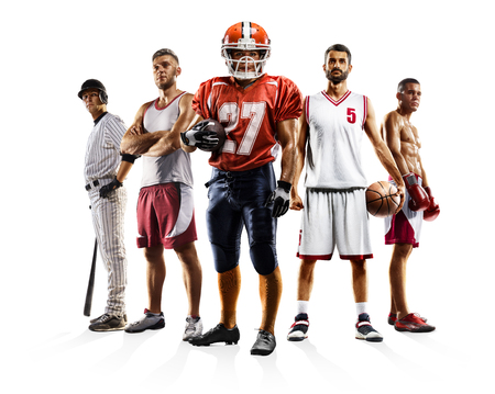 Multi sport collage boxing baseball american football volleyball bascketball