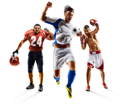 Photo pour Multi sport collage soccer american football boxing - image libre de droit