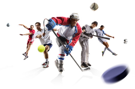Sport collage volleyball tennis football baseball ice hockey soccer etc