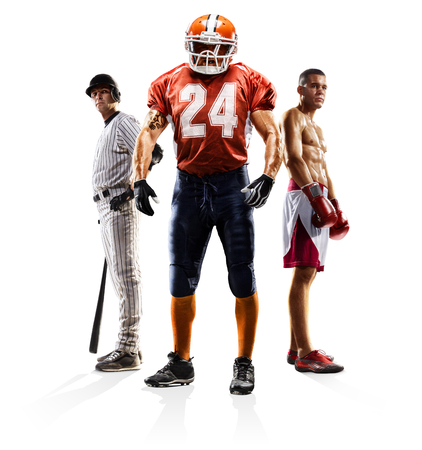 Multi sport collage baseball american football boxing