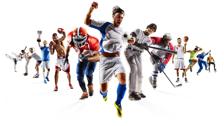 Foto de Huge multi sports collage soccer basketball football hockey baseball boxing etc - Imagen libre de derechos