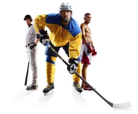 Multi sports collage ice hockey baseball boxing isolated on white