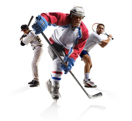 Multi sports collage ice hockey baseball tennisisolated on the white