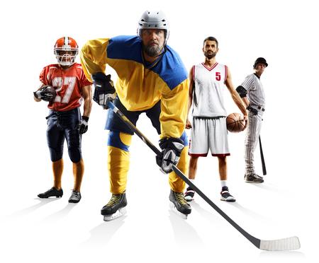 Sport collage american football basketball baseball ice hockey etc