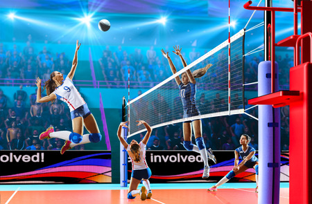 Photo for Female professional volleyball players in action on grand court - Royalty Free Image