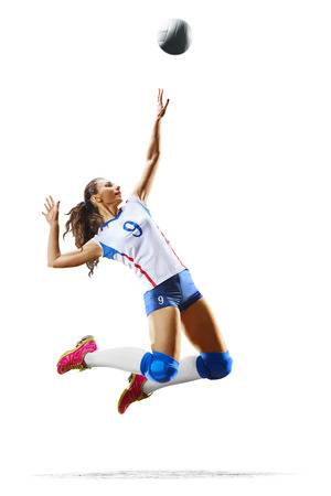Photo pour Female professional volleyball player isolated on white - image libre de droit