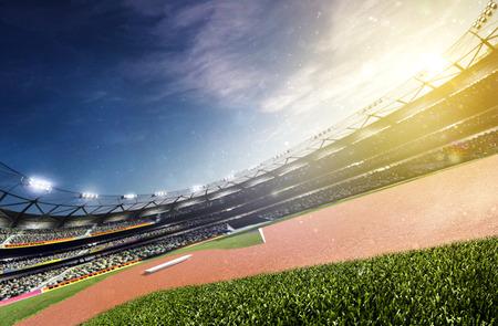 Photo for Empty baseball stadium 3d render panorama - Royalty Free Image