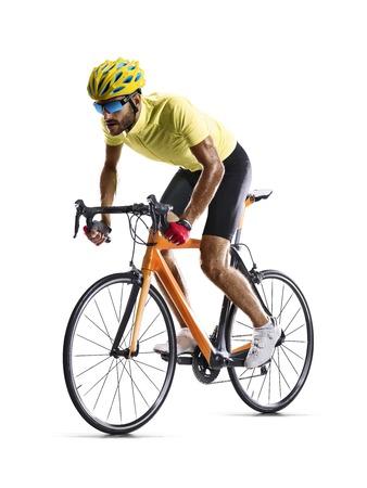 Foto de Professional road bicycle racer isolated on white - Imagen libre de derechos