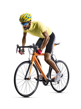 Foto de Professinal road bicycle racer isolated in motion on white - Imagen libre de derechos