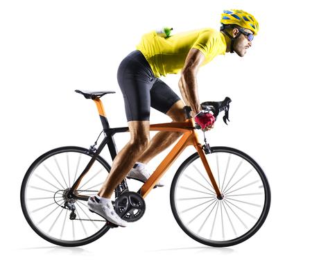 Foto de Professinal road bicycle racer isolated in motion on white - Imagen libre de derechos