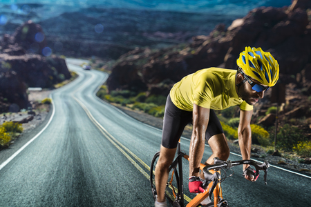 Photo for Professional road bicycle racer in action - Royalty Free Image