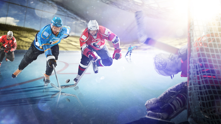 Professional hockey players in action on the grand arena