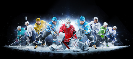 Grand ice hockey collage with professional players on the black background