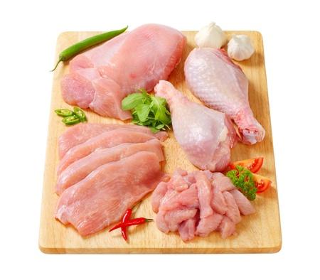 Raw turkey meats and cuts on cutting board
