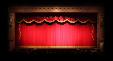 Real Stage Theater Drapes With Spotlights. Image has some noise due to low lighting conditions.