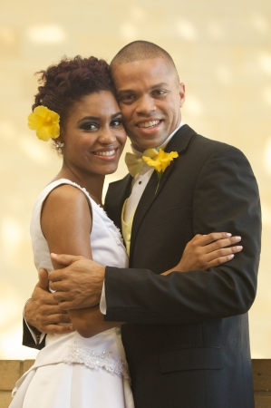 African American Bride and Groom on Their Wedding Day