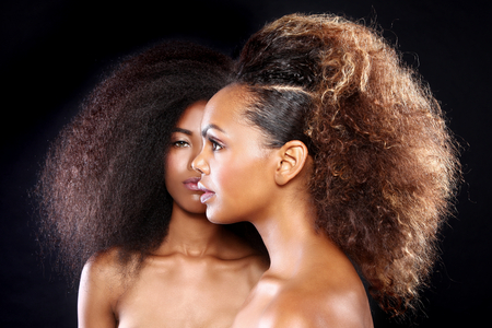Photo pour Beautiful Stunning Portrait of Two African American Black Women With Big Hair - image libre de droit