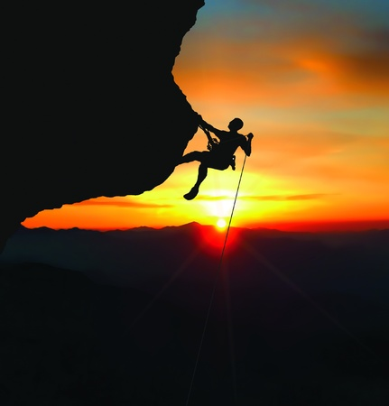 rock climber rappelling
