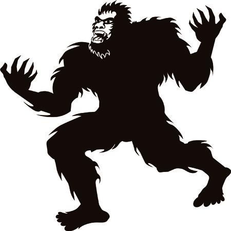 Ilustración de Bigfoot Sasquatch screaming howling silhouette - Imagen libre de derechos