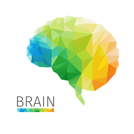 Illustration pour Creative concept of the human brain consists of colorful polygons, vector - image libre de droit