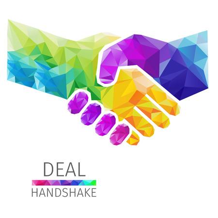Ilustración de Creative concept of the handshake, deal consists of colorful polygons, vector - Imagen libre de derechos