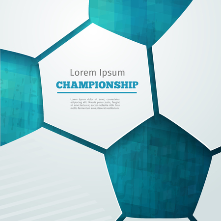 Ilustración de Football abstract geometric background with polygons. Soccer label design. Info graphics composition with geometric shapes. Vector illustration for sport presentation - Imagen libre de derechos