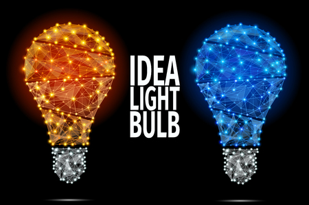 Illustration pour Vector light bulb icon with concept of idea. Abstract Polygonal Illustration. - image libre de droit