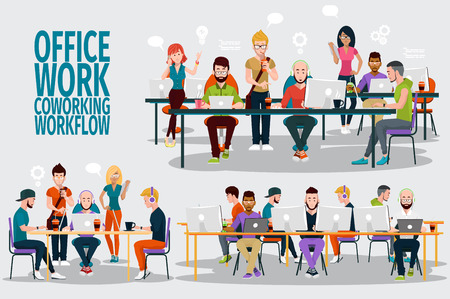 Ilustración de Business People Working Office Corporate Team Concept. Shared working environment. People talking and working at the computers in the open space office. Flat design style. - Imagen libre de derechos