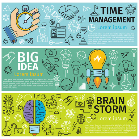 Ilustración de Flat concept banners of Time management, Creative design, Big Idea, Brainstorm. Line art icons  Innovation and solution. business idea. Vector illustration - Imagen libre de derechos