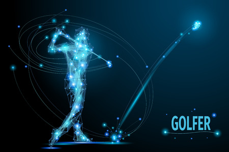 Illustration pour Golfer hits the ball in motion. Polygonal  golf player from futuristic shape. Thin line vector abstract polygonal blue. Wireframe cybernetic particles mesh. - image libre de droit