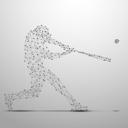 Illustration pour Abstract ballplayer with cybernetic particles. Polygonal digital background. Point and curve constructed theballplayer silhouette wireframe. - image libre de droit