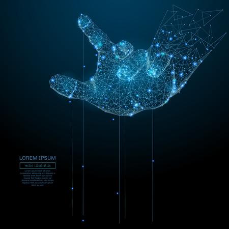 Illustration pour Polygonal hand puppet. Business Vector mesh spheres from flying debris. Thin line business or political concept. Blue structure style illustration - image libre de droit