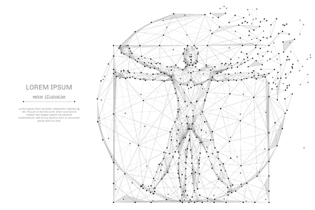 Illustration pour Proportion Man low poly wireframe - image libre de droit