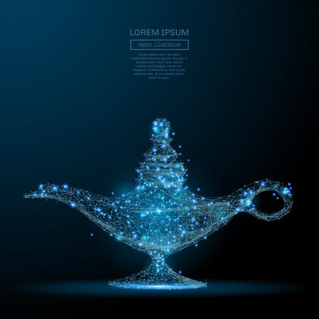 Illustrazione per Glowing magic lamp icon. - Immagini Royalty Free
