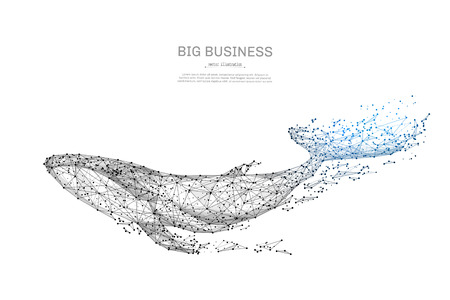 Ilustración de Blue whale low poly wireframe isolated black on white background. Abstract mash line and point origami. Vector illustration. large marine animal with geometry triangle. Light connection structure. - Imagen libre de derechos