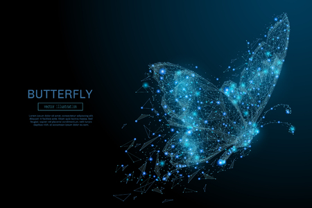 Ilustración de Butterfly composed of polygon. Low poly vector illustration of a starry sky or Comos. The digital flyer consists of lines, dots and shapes. Wireframe technology light connection structure. - Imagen libre de derechos