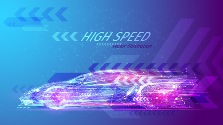 Ilustración de High speed concept. Sport car in the form of a starry sky or space, consisting of points, lines, and shapes in the form of planets, stars and the universe. Fast vector wireframe concept. Blue purple - Imagen libre de derechos