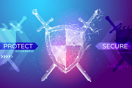 Photo pour Shield and swords in the form of a starry sky or space, consisting of points, lines, and shapes in the form of planets, stars and the universe. Protect and secure vector wireframe concept. Blue purple - image libre de droit