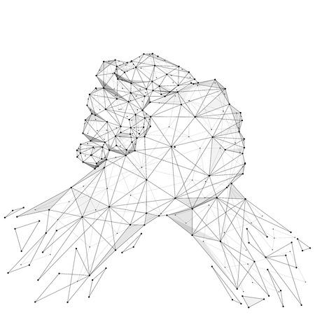Ilustración de Abstract mash line and point brotherly handshake origami on white background. - Imagen libre de derechos