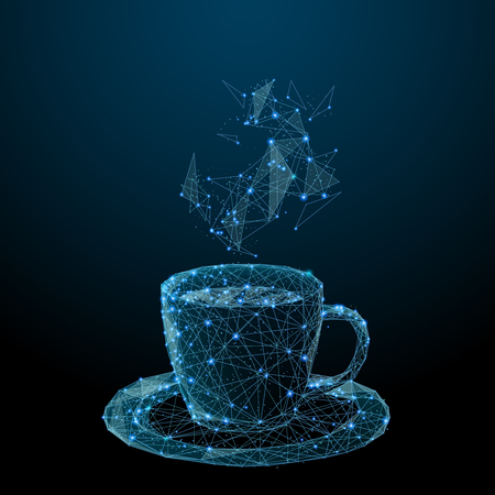 Illustration pour Coffee cup. Tea cup. Vector polygonal image in the form of a starry sky or space, consisting of points, lines, and shapes in the form of stars with destruct shapes. - image libre de droit
