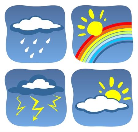 Clouds, a rain, a rainbow, lightnings and the sun on a dark blue background.