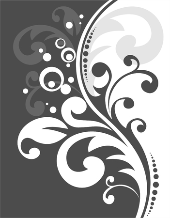 Decorative black pattern on a white background. Digital illustration.