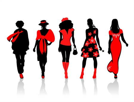 Stylized  silhouettes on a white background. Digital illustration.