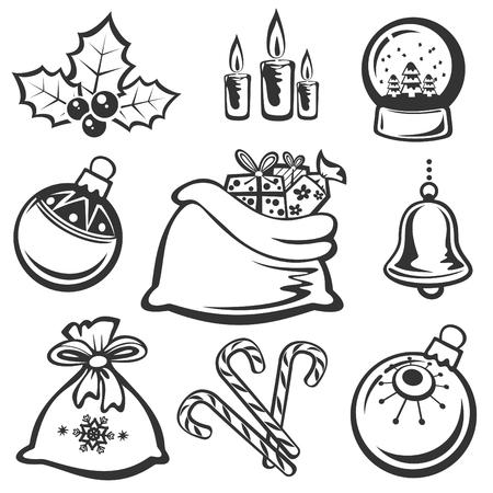 Cartoon Christmas symbols set isolated on a white background.