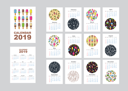 Illustration pour Wall monthly calendar or desk calendar 2019 with ice cream pattern. Calendar sheets and cover. Vector illustration. - image libre de droit