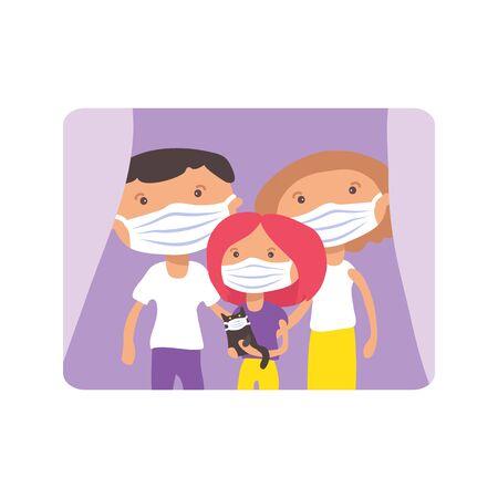 Illustrazione per Family with face masks. COVID-19 quarantine conceptual vector illustration. Protection from coronavirus or respiratory virus. Prevent infection respiratory tract. - Immagini Royalty Free